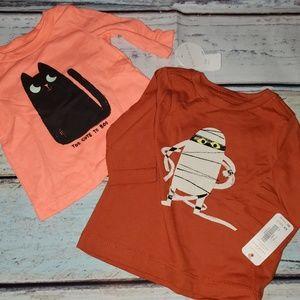 nwt 2 gymboree shirts halloween 0-3 baby